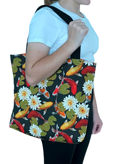 Printed 'Lily Pad Koi' tote bag