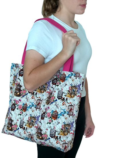 Printed 'Birdcage' tote bag