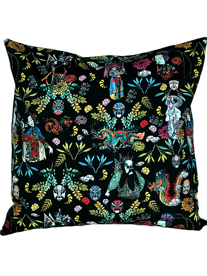 Printed 'Chinese Opera' cushion cover