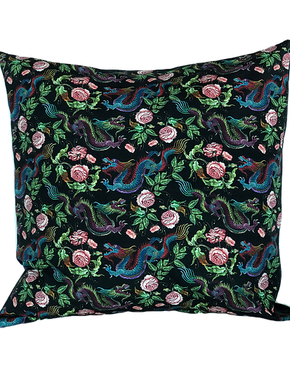 Printed 'Garden Dragons' cushion cover