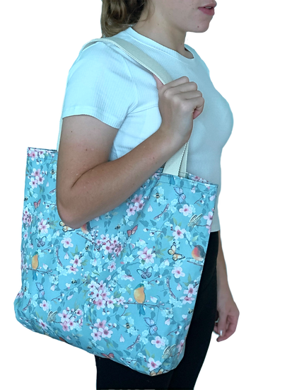Printed 'Light Blue Sakura' tote bag