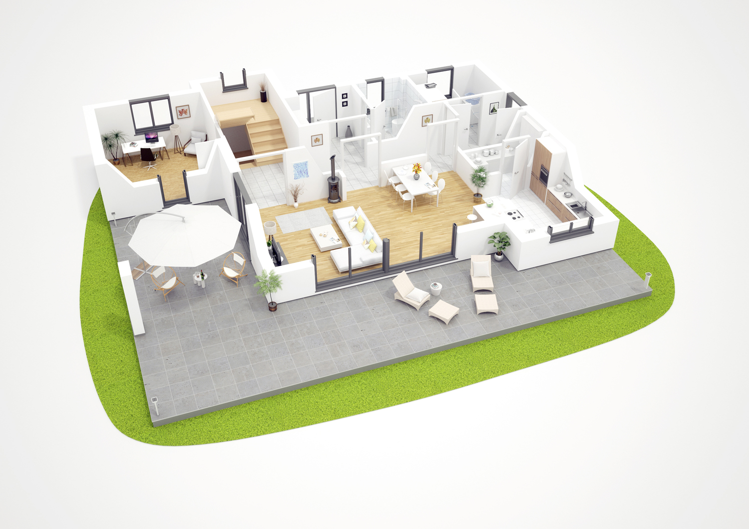 3D groundplan - single family house