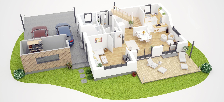 Einfamilienhaus 3D Grundriss