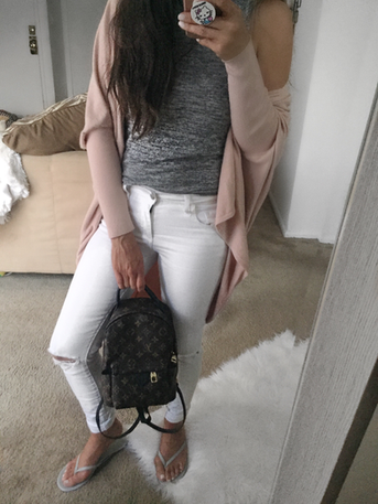 Style Diaries: Pink Cardigan and white jeans for Labor Day!