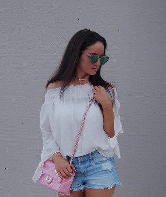Summer look cutoffs and off the shoulder top!