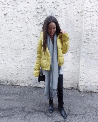 Yellow puffer coat!