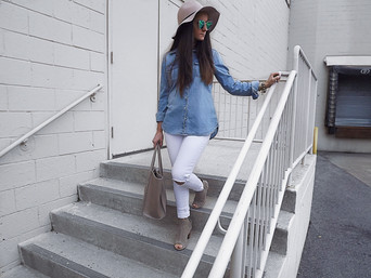 White Jeans and Denim Top