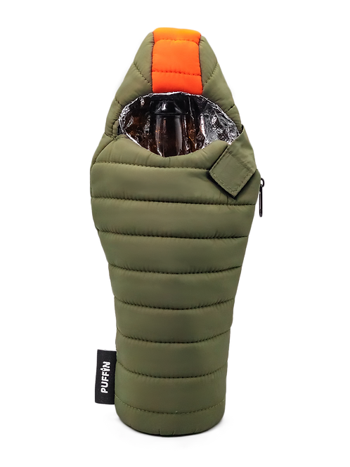 Puffin Coozies Beverage Bag (Green/Orange)