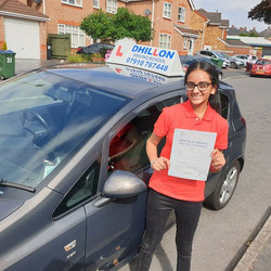 Harman passed her test first time at Wed