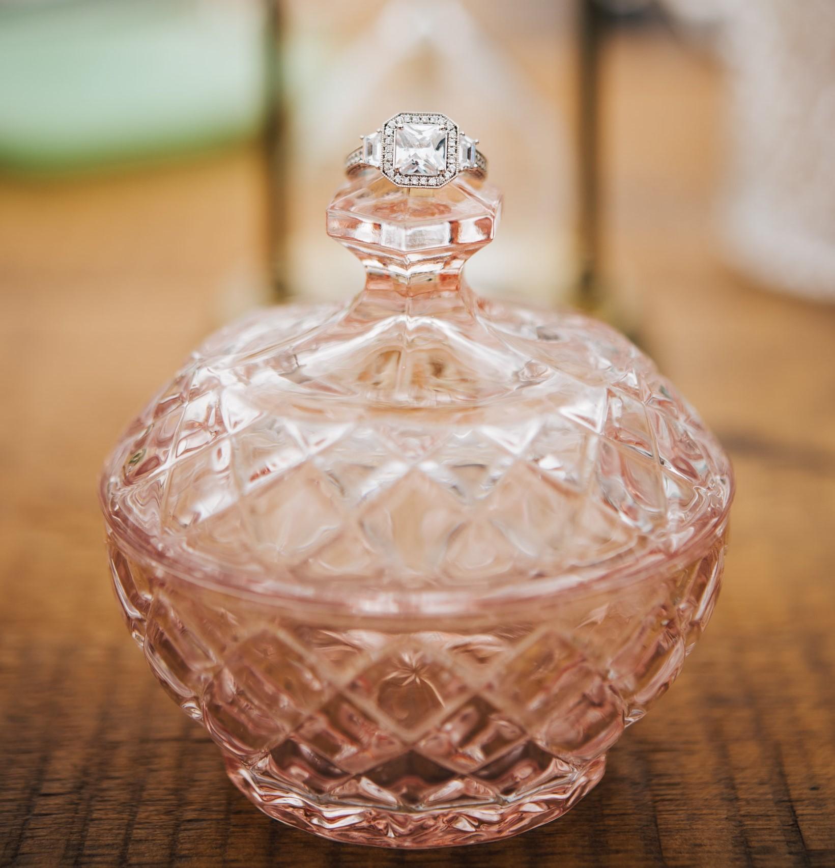 Ring photo prop Vintage wedding pink gla