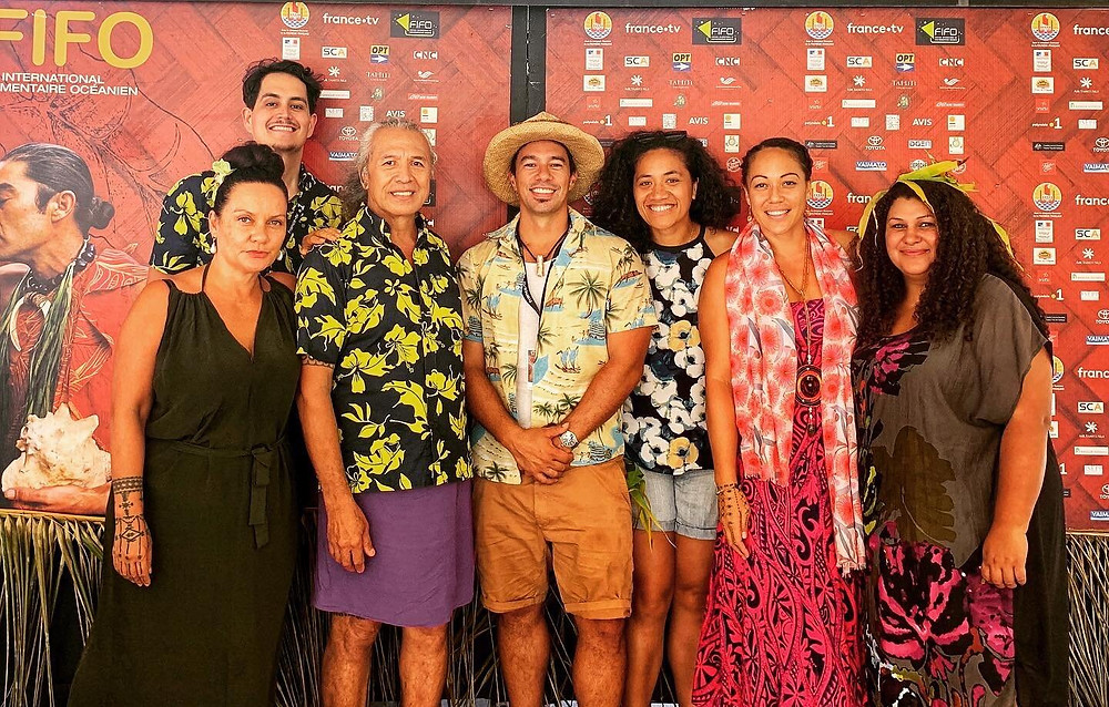 Eliorah Malifa (3rd from right) and Kalolaine Fainu (2nd from right) at the 2020 FIFO (Festival International du Film Documentaire Oceanien) with filmmakers, Fresh TB and Coconet TV crew. Photo courtesy of Kalolaine Fainu.