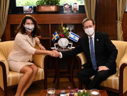 President Isaac Herzog kreeg bezoek van de Zweedse minister van Buitenlandse Zaken