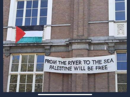 Studenten Koninklijke kunstacademie in Amsterdam tonen hun steun voor verdwijnen Israël