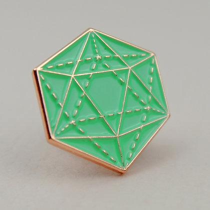 Mint icosahedron enamel pin