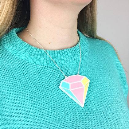 Pastel Diamond statement necklace