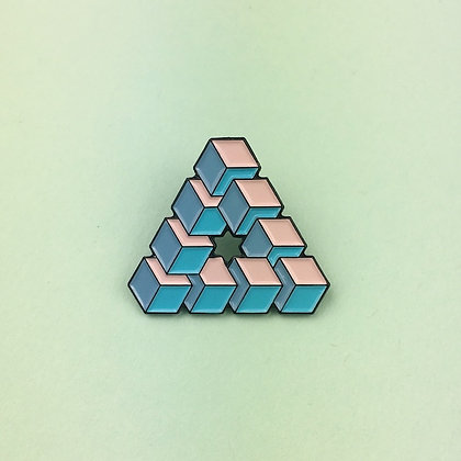 Impossible cubes soft enamel pin