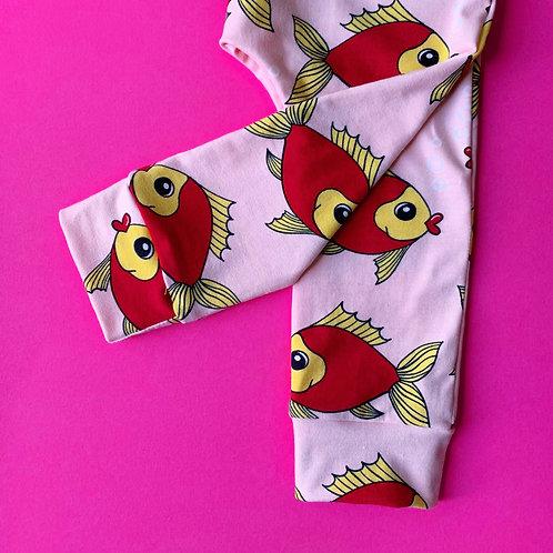Organic Leggings, pink fish