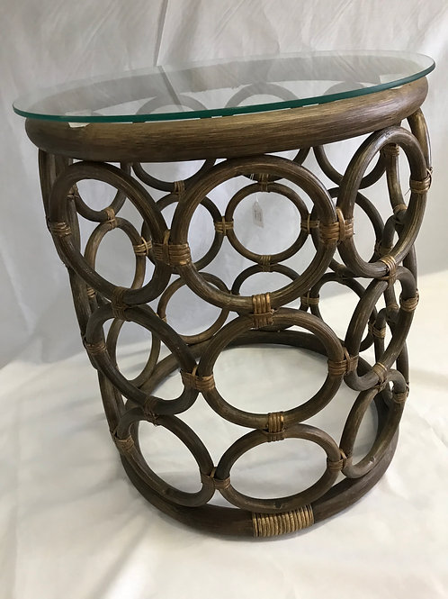 Antique Brown Side Table with Glass Top