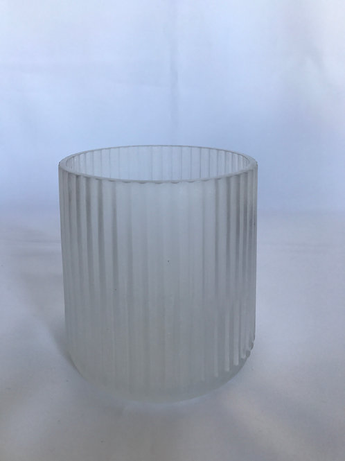 White Frosted Ribbed Vase