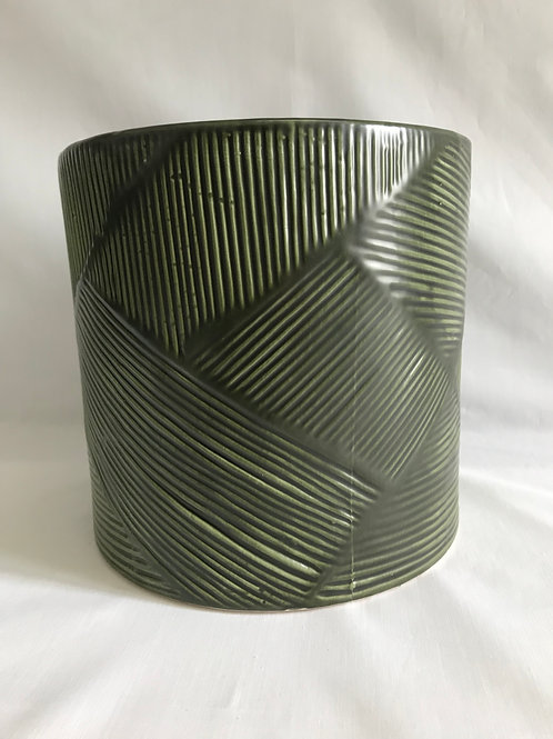 Country Green Vase with Ridges