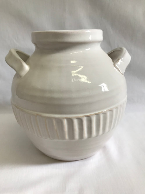 White Pottery Pot with Handles
