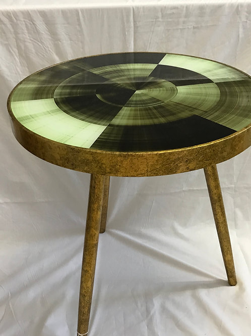 Antique Gold Tripod Table with Green Glass Top