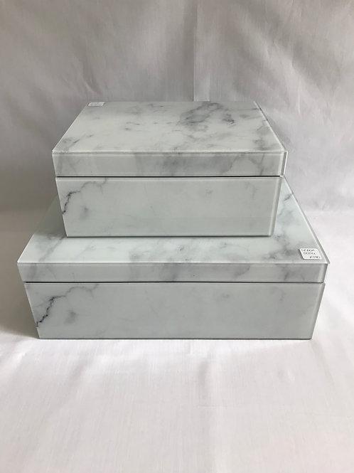 White Marble Glass Box
