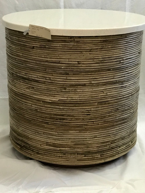 Kubu Drum Side Table with Stone Top