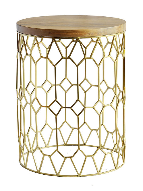 Gold Geometric Side Table With Wooden Top