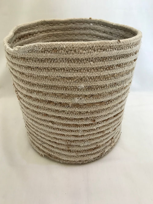 Small White and Natural Soft Basket