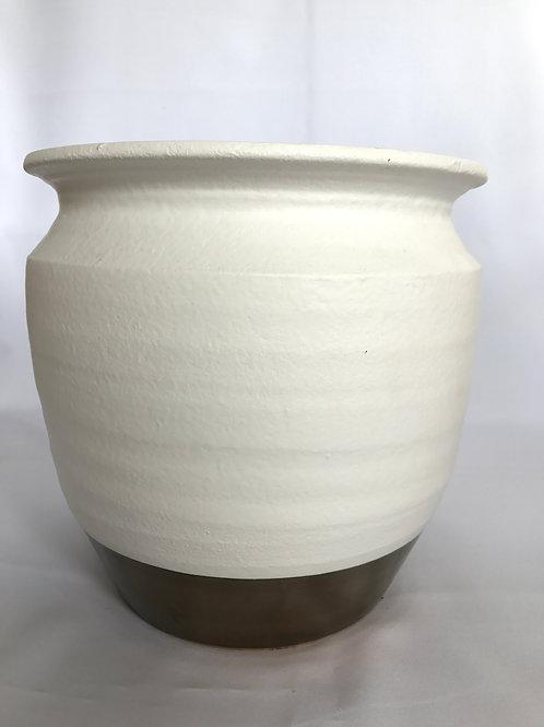 White & Bronze Ceramic Pot
