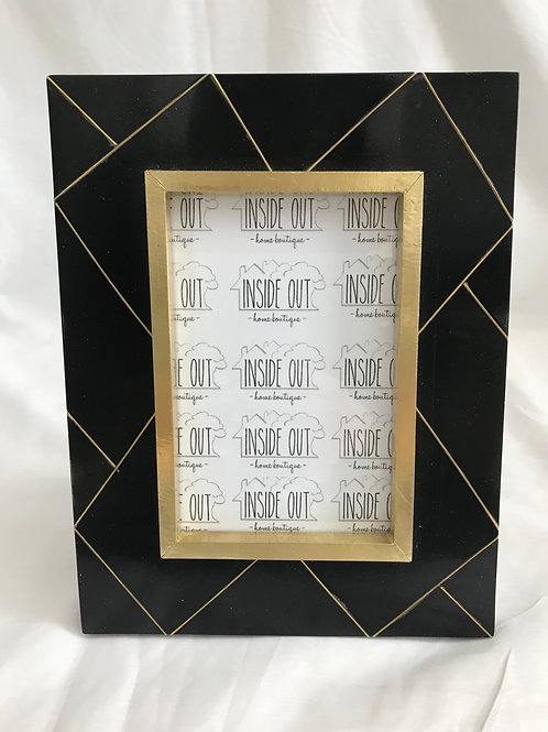 Black Resin with Abstract Line Frame
