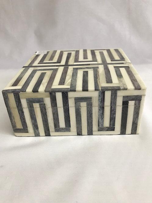 White & Grey Bone Box with Lid