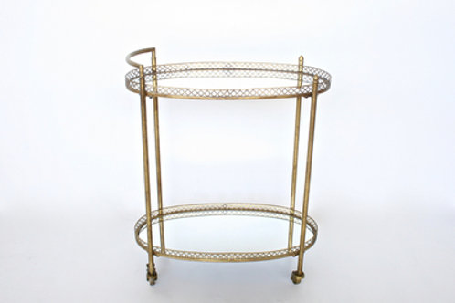 Two Tier Mirrored Gold Oval Trolley