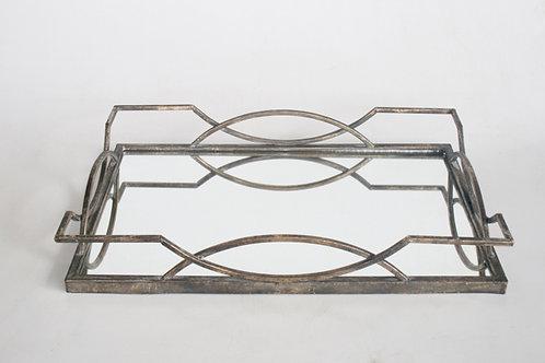Antique Bronze Tray With Mirror