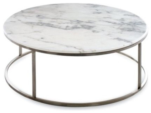 Steel Powder Coated Frame with Marble Top Coffee Table