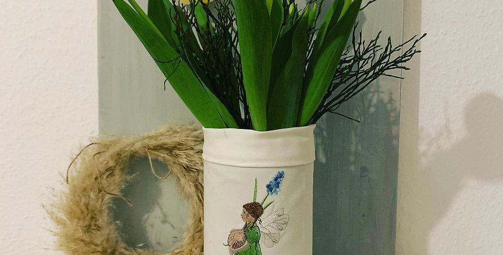 Windlicht-Vase bestickt