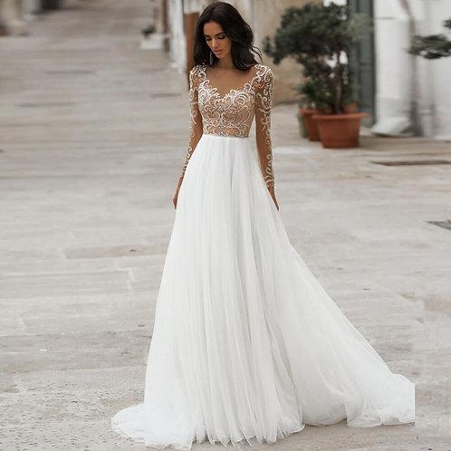Vestido De Noiva Manga Longa Fiel