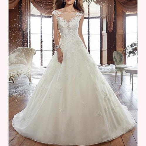 Vestido De Noiva Manga Curta Calda Longa Lealdade