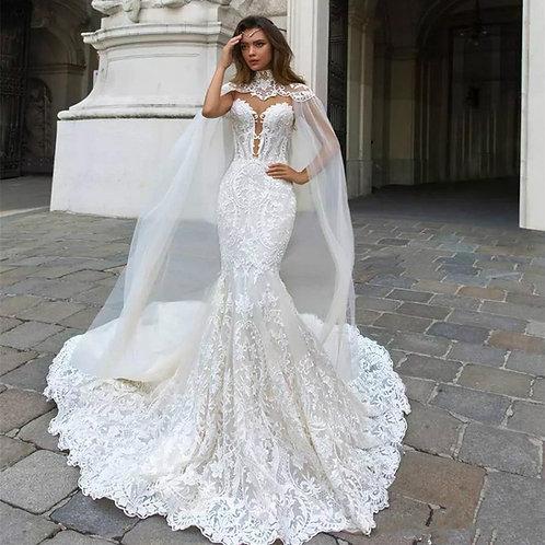 Vestido De Noiva Sereia Prismas Cauda Longa
