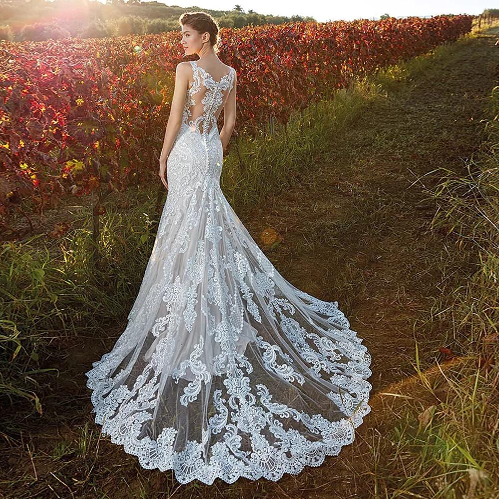 vestido de noiva sereia com cauda longa