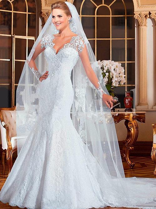 Vestido De Noiva Sereia Manga Longa Felicidade