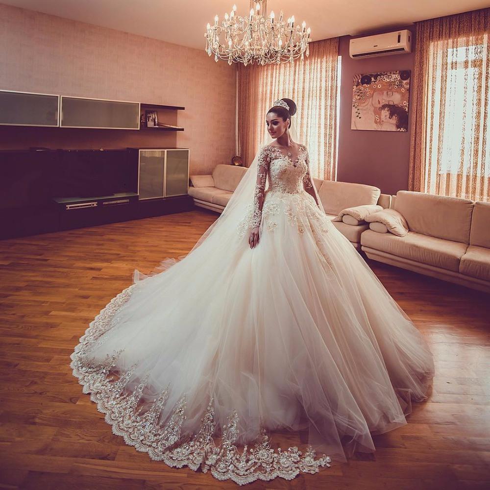 vestido de noiva renda manga longa rodado princesa