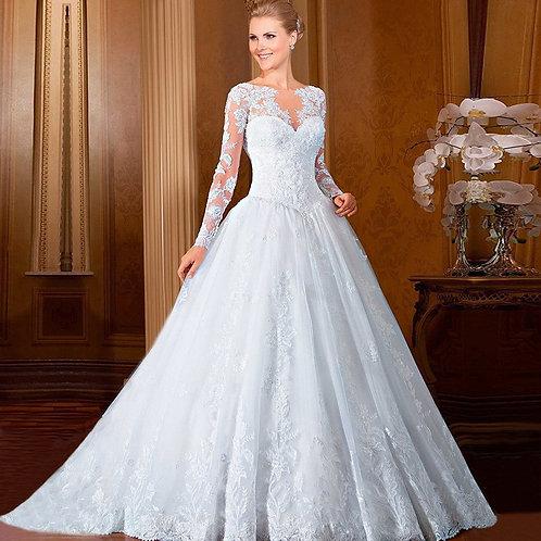 Vestido De Noiva Calda e Manga Longa Dominação