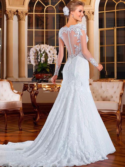 Favoritos Vestido De Noiva Sereia Manga Longa Felicidade | Vestido De Noiva  MZ03
