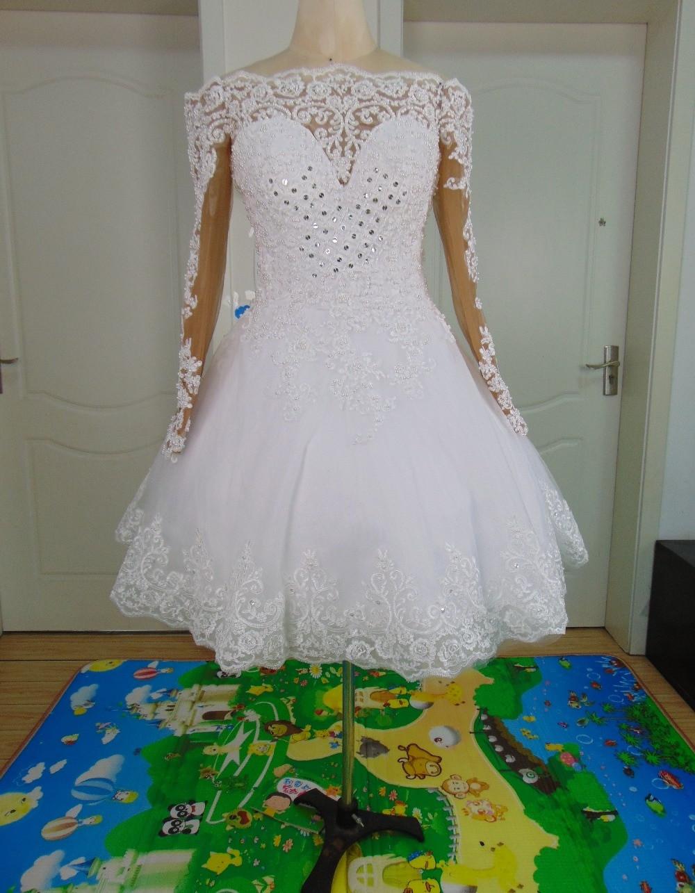 Vestido De Noiva Curto 2 em 1 Ombro a Ombro