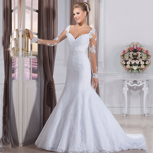Vestido De Noiva Sereia Manga Longa Carinhosa