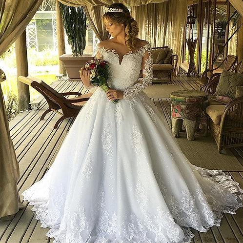 Vestido De Noiva Autêntico Decote V Gola O