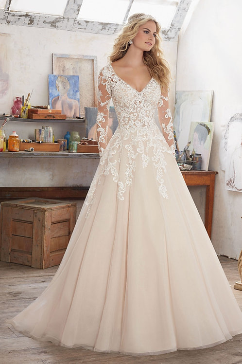 Vestido De Noiva Manga Longa Luminosa