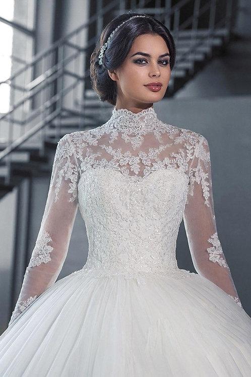 Vestido De Noiva Elevo Manga Longa Com Anágua